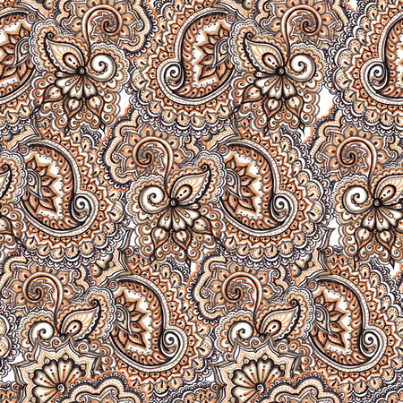 paisley seamless pattern: Marker painted abstract ethnic ornament. Repeating decorative abstract pattern in brown - blue colors. Stock Photo