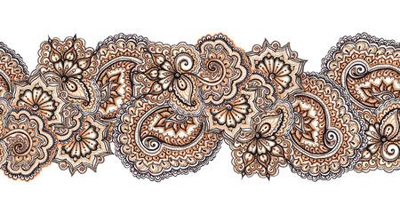 disegni cachemire: Marker dipinto astratto ornamento etnico. Ripetendo decorativo modello astratto in marrone - colori blu. Archivio Fotografico