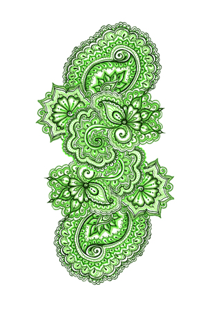 lacework: Indian ornamental lacework in natural colors, isolated Stock Photo