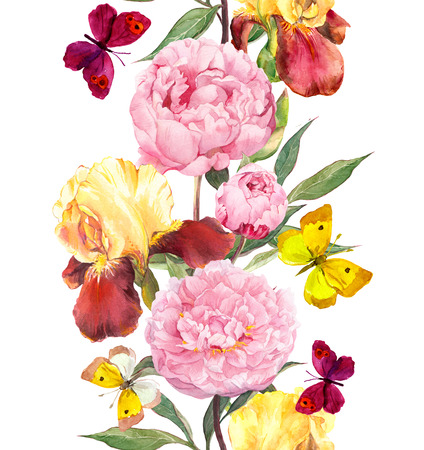 butterfly in hand: Peony and iris flowers. Seamless border stripe. Watercolor isolated Stock Photo
