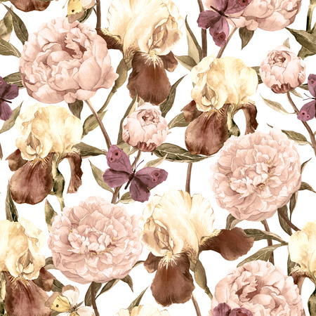 iris blossom: Seamless floral pattern. Peonies pink flowers and irises. Watercolor illustrations