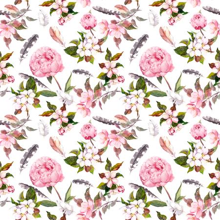 Naadloze bloemen sjabloon met aquarel geschilderde appel en kersen bloemen bloeien, geïsoleerde Stockfoto