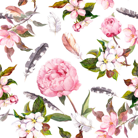 Seamless floral template with aquarelle painted apple and cherry flowers blossom, isolated