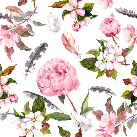 motif floral: Modèle Seamless floral avec aquarelle peinte pomme et cerise fleurs fleur, isolé