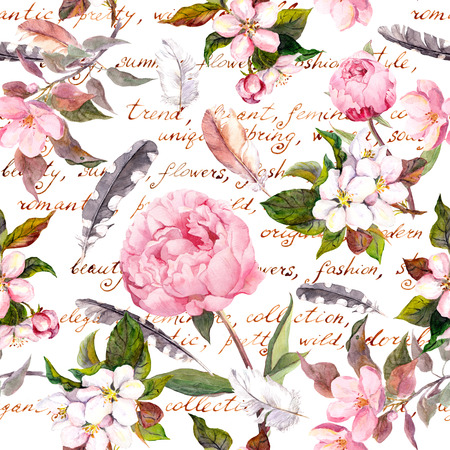 shabby: Seamless floral template with aquarelle painted apple and cherry flowers blossom, isolated