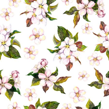 Naadloze bloemen sjabloon met aquarel geschilderde appel en kersen bloemen bloeien, geïsoleerde Stockfoto - 48670373