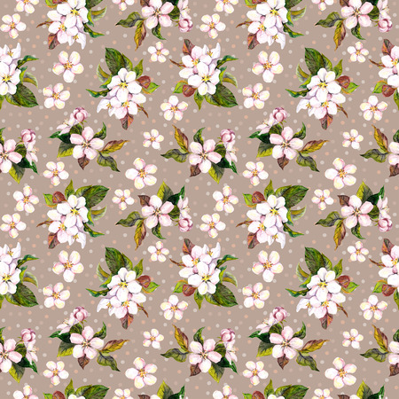 aquarel: Seamless floral template with aquarelle painted apple and cherry flowers blossom, isolated