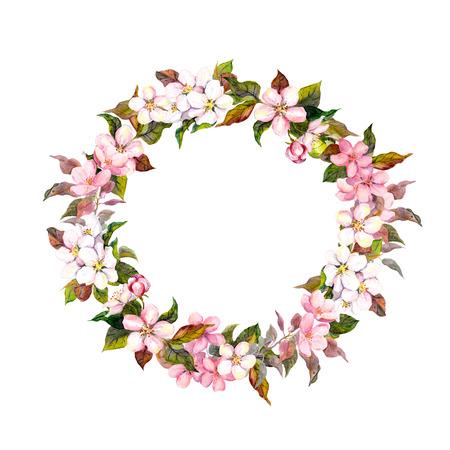 borde de flores: Modelo floral sin fisuras con acuarela pintada de manzana y cereza flores flor, aislado