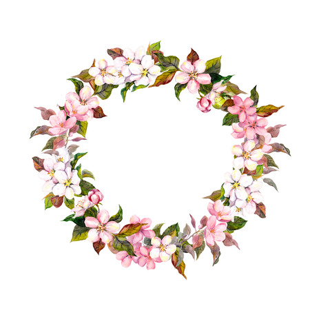 garlands: Seamless floral template with aquarelle painted apple and cherry flowers blossom, isolated