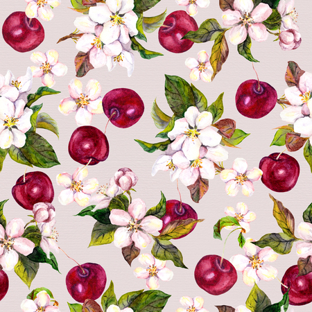 fashon: Seamless floral template with aquarelle painted apple and cherry flower blossom isolated