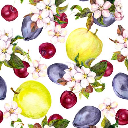 Naadloze bloemen sjabloon met aquarel geschilderde appel bloemen en kersen bloemen bloeien geïsoleerde Stockfoto