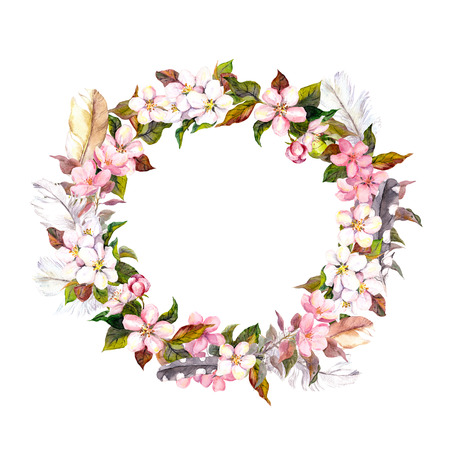 Seamless floral template with aquarelle painted apple flowers and cherry flowers blossom isolated