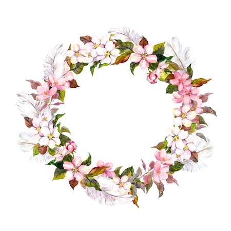 Seamless Modello floreale con acquarello dipinto fiori di mela e fiori di Ciliegio in fiore isolato Archivio Fotografico - 48997618
