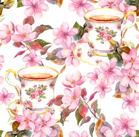 Naadloze bloemen sjabloon met aquarel geschilderde appel en cherry bloemen bloeien met vogel en theekop