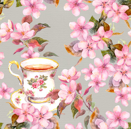 aquarelle: Seamless floral template with aquarelle painted apple and cherry flowers blossoming with bird and tea cup