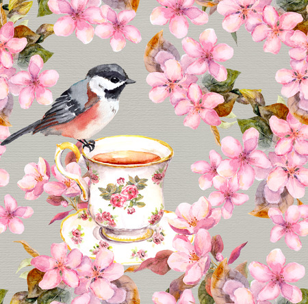 aquarel: Seamless floral template with aquarelle painted apple and cherry flowers blossoming with bird and tea cup
