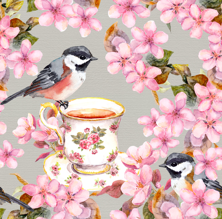 Seamless floral template with aquarelle painted apple and cherry flowers blossoming with bird and tea cup