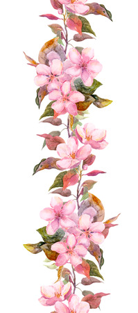 apricot tree: Seamless floral template with aquarelle painted apple and cherry flowers blossoming, isolated Stock Photo