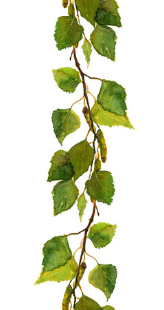 leaf illustration: Seamless backdrop with birch branches and green leaves, watercolor