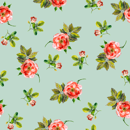 repeating background: Repeated seamless backdrop with watercolor drawing pink roses Stock Photo