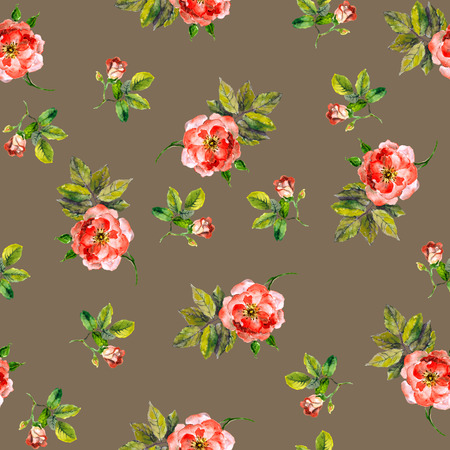 stylishness: Repeated seamless backdrop with watercolor drawing pink roses Stock Photo