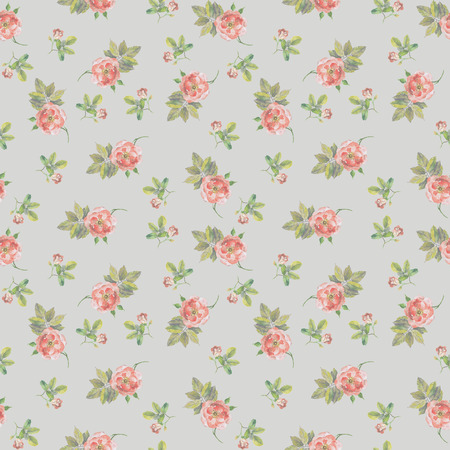 Repeated seamless backdrop with watercolor drawing pink roses Stock Photo