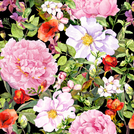contrast floral: Flowers, leaves, meadow grass at contrast black background. Seamless floral pattern for fresh fashion design. Watercolor