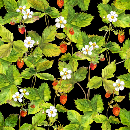 aquarel: Seamless repeated pattern with field of wild forest strawberry. Watercolour.