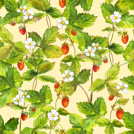 repeated: Seamless repeated pattern with field of wild forest strawberry. Watercolour.