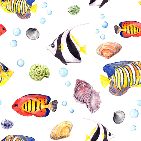 royal angelfish: Exotic fish, tropical coral and water baubles. Seamless pattern. Watercolour