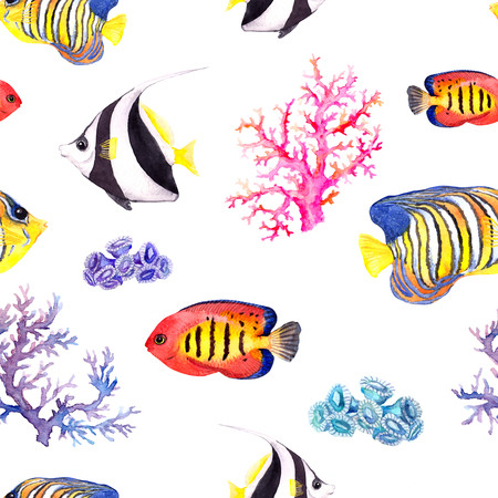 Exotic fish, tropical coral and water baubles. Seamless pattern. Watercolour