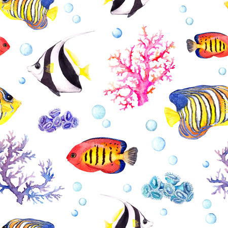 bannerfish: Exotic fish, tropical coral and water baubles. Seamless pattern. Watercolour