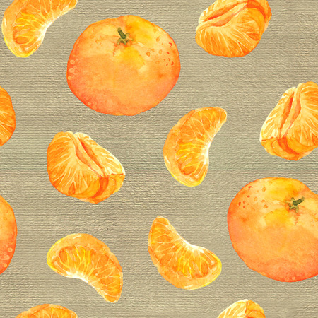 Seamless watercolor background with mandarin orange fruits
