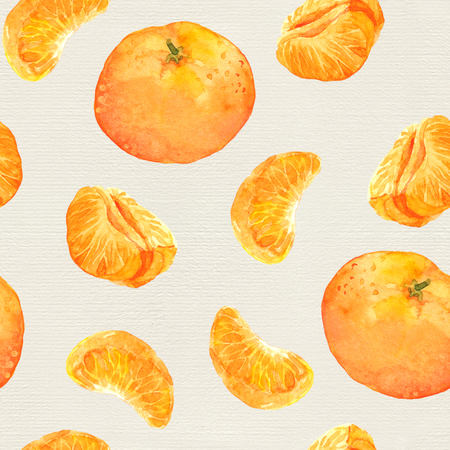 mandarin orange: Seamless watercolor background with mandarin orange fruits