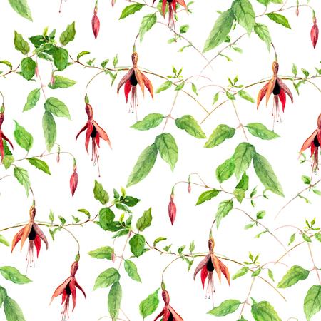 flores fucsia: flores de color rosa fucsia. Repitiendo el estampado de flores. aislado del color de agua