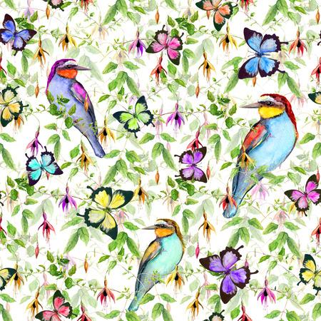 mariposa: Flores exóticas en la selva tropical. Repitiendo el estampado de flores. Acuarela