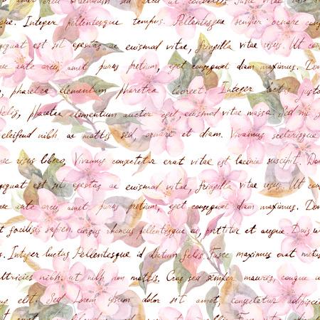 Kirschblüte Rosa Blumen Handgeschriebener Text Schwarzer