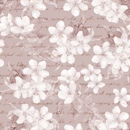 repeated: Flowers and letter text background. Watercolor seamless pattern
