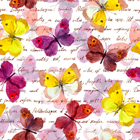 butterfly in hand: Butterflies and letter text background. Watercolor seamless pattern Stock Photo