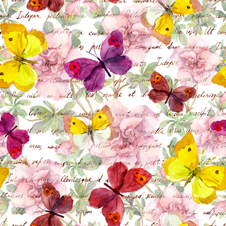 butterfly in hand: Flowers and letter text background. Watercolor seamless pattern
