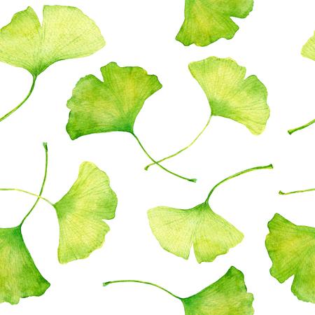 Ginkgo bladeren seemless bloemenpatroon, aquarel achtergrond