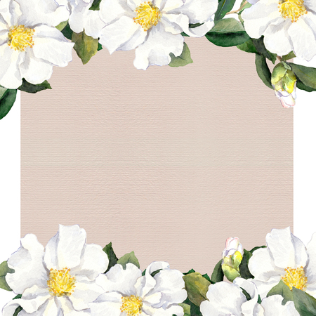 fringe: Watercolor floral frame with white flowers fringe on paper texture Stock Photo