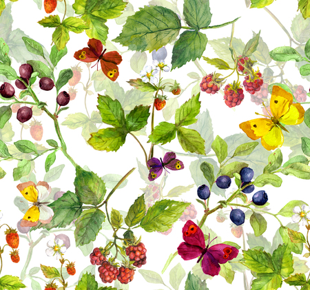 multy: Repeating pattern with wild herbs, butterflies and forest berries - raspberry, strawberry, bilberry. Watercolor.