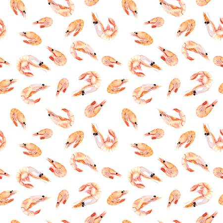 Seamless wallpaper with shrimps isolated, sea food