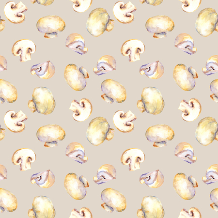 champignon: Seamless background with champignon mushrooms for cooking Stock Photo