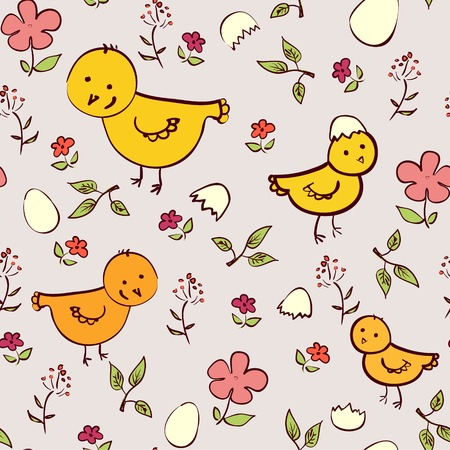 ornithological: Seamless chicken background  in neutral and beige colors