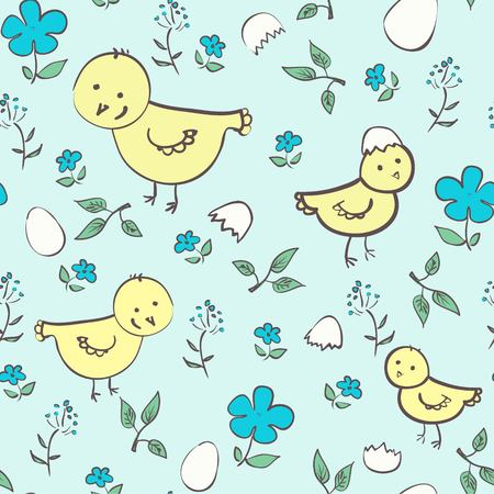 poult: Seamless chicken background  in neutral and blue colors