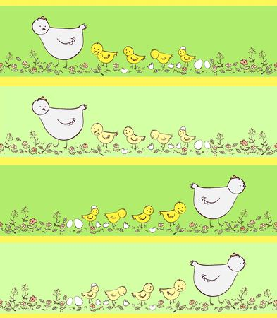 poult: Vector banners with chicken mother and kids, green colors
