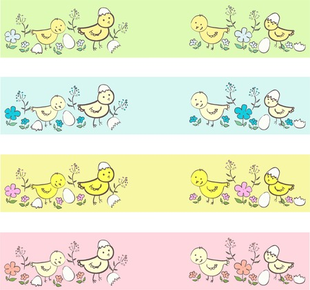 poult: Cute chicken  different borders in neutral colors Illustration