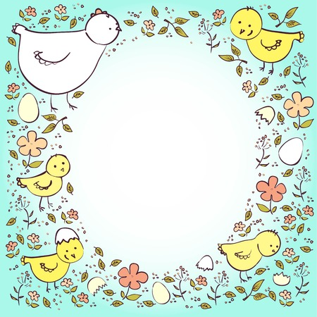 neutral: Postcard with chickens and eggs in neutral colors Illustration